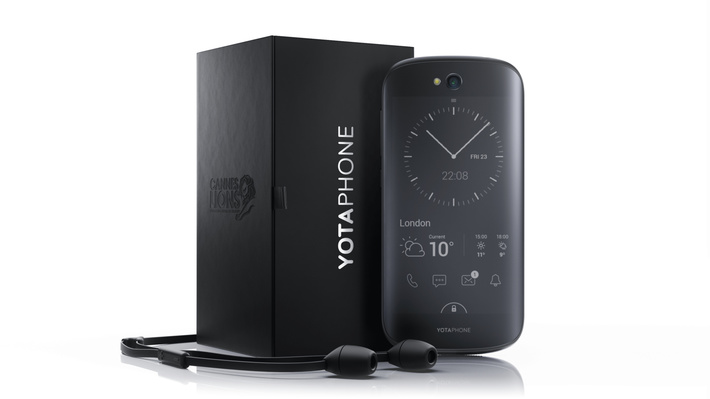 Слоган «Йотафона»: «Телефон с двух сторон»