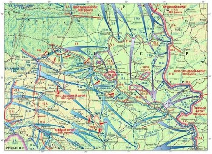 Карта Киевской стратегической оборонительной операции