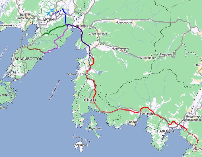карта Трассы Владивосток-Находка