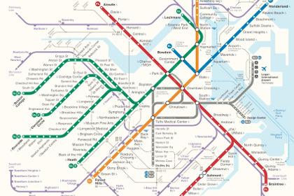 Схема бостонского метро, разработанная Михаилом Квривишвили