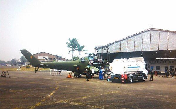 Первый полученный из России Камеруном боевой вертолет Ми-24 (камерунская регистрация TJ-XRT), март 2016 года (с) twitter.com
