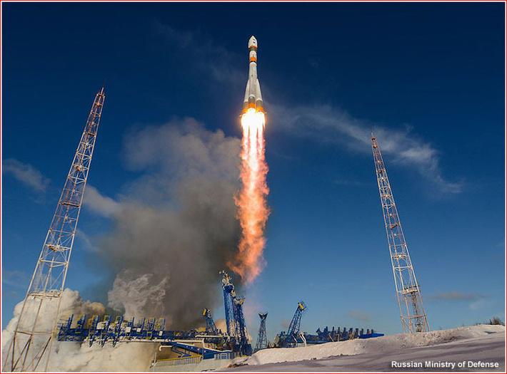 Взлет ракеты Союз-2.1а 27 февраля 2015 года Второй Барс-М