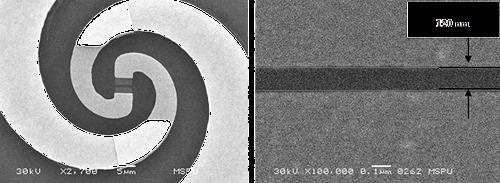 Слева изображена часть чипа смесителя со спиральной антенной и смесительным элементом в центре. Изображение полученное с помощью сканирующего электронного микроскопа. Справа дано увеличенное изображение активного участка плёнки NbN (смесительного элемента).