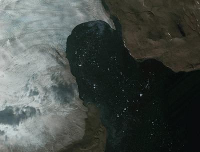 Выводной ледник, айсберги у берегов Новой Земли в Карском море. Снимок EROS B, дата съемки 3 сентября 2012 г. (с) ImageSat, ИТЦ «СКАНЭКС»