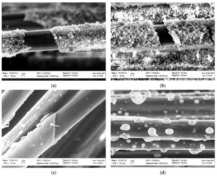 Структура углеродных волокон с оксидным покрытием (а) без термообработки, (b) после нагрева до 570°С, (с) после нагрева до 870°С, (d) после нагрева до 1170°С