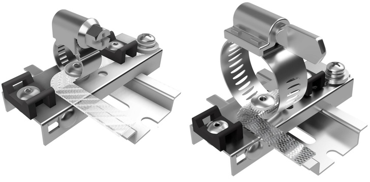 Слева: КЗ-ЭБК-8/12 ДР, диаметр экрана(брони) 8-12 мм. Справа КЗ-ЭБК-10/16Б ДР, диаметр экрана(брони) 10-16 мм, затягивание барашком.