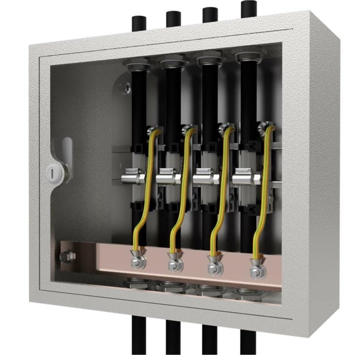 Заземление экранов или брони кабеля на вводе может быть выполнено и таким образом – в отдельном щитке с шиной заземления.