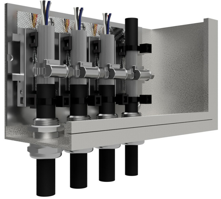 Заземление экранов кабелей на вводе в шкаф с помощью контактов КЗ-ЭБК ДР