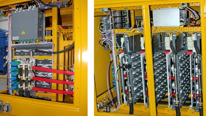 Силовой преобразователь системы возбуждения тягового генератора (слева) и емкостный фильтр на пленочных конденсаторах (справа)