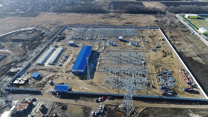 подстанция «Ново-Лабинская» во время строительства