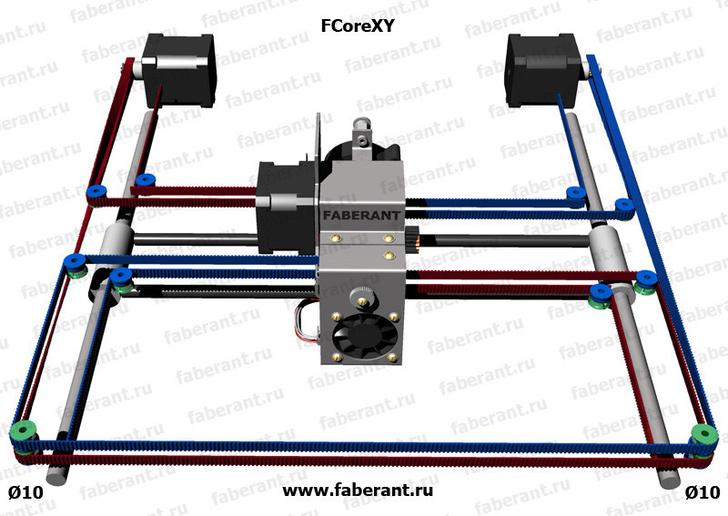 Реализация FCoreXY для 3D-принтера Faberant Cube. По оси Y используются толстые направляющие диаметром 10 мм, по оси Х - более тонкие диаметром 8 мм