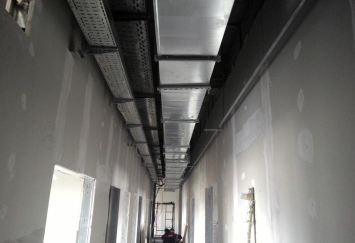 Работы по внутренней отделке КДП, монтаж систем вентиляции, электропроводки