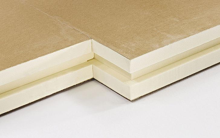 Теплоизоляционные плиты из пенополиуретана. Цвет кремовый