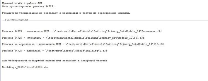 Отчёт о работе АСТ (автоматической системы тестирования) ядра C3D