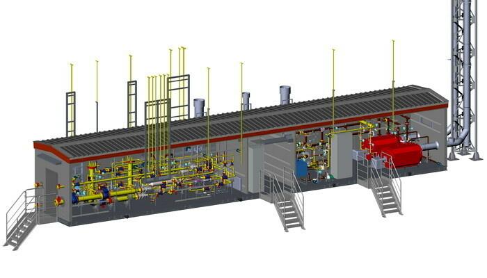 Модуль №2 УПТГ для энергоцентра Харасавэйского месторождения состоит из технологической части, котельной и отсека управления