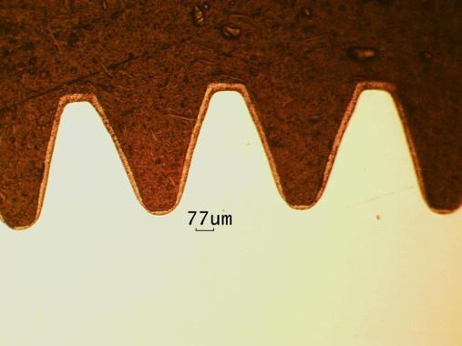 Упрочнение зубчатых передач. Микроструктура азотированного слоя на стали 16Х16Н3МАД