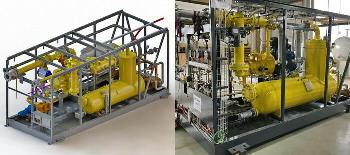 Компрессорная установка (технологическая часть) для рекуперации отпарного газа