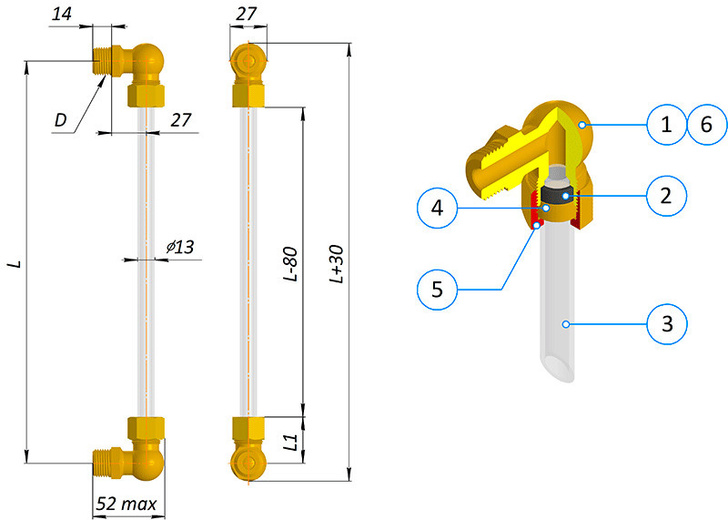 Стеклянная трубка индикатора уровня