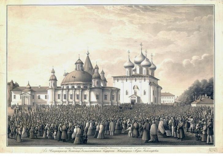 Картина А.И. Ушакова Выход императора Александра II из Вологодского Софийского собора 15 июня 1858