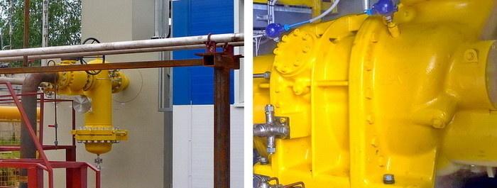 Внешний фильтр тонкой очистки газа (слева) и основной элемент ДКС – винтовой компрессор