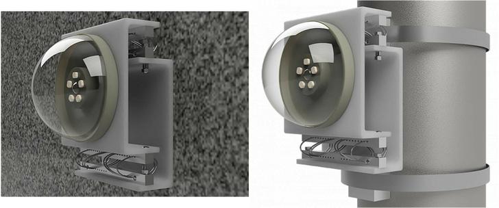Примеры установки ПМП-ВЗ 150х150 с полезной нагрузкой (iP-камера) на стене и на столбе.