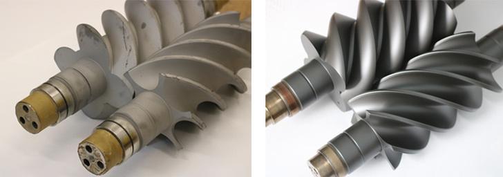 Роторы компрессора до и после нанесения твердосмазочного покрытия MODENGY™
