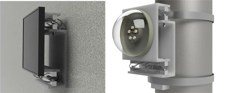 Слева: ПМП-ВЗ закреплена на поверхности, на ней - интерактивная панель (пример применения - в кабине оператора горно-шахтной техники). Справа: ПМП-ВЗ закреплена на трубе монтажныит лентами. На ней - IP-камера (Пример применения - установка камеры на металлоконструкциях мостового перехода или козлового крана).