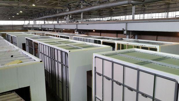 Блоки модульного здания на заводе