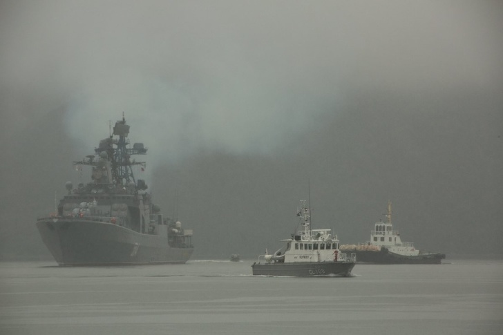 Отряд кораблей ТОФ ВМФ России на военно-морской базе Морских сил самообороны Японии в Майдзуру