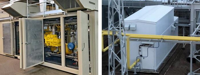 Система подготовки газа для ГТУ-ТЭС в Елабуге – ДКС (слева) и БПОГ