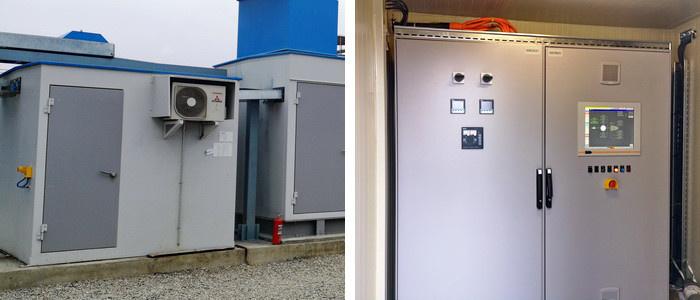 Отсек локальной САУ компрессорной установки (вид снаружи и внутри)