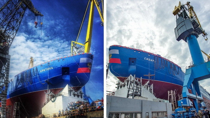 Спуск на воду «Арктики» и «Сибири» – двух первых атомных ледоколов серии ЛК-60Я