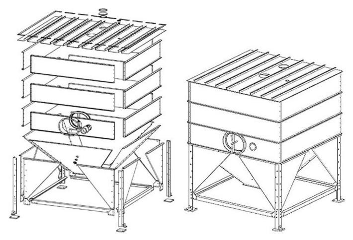 Сборный силос из конструкторской стали