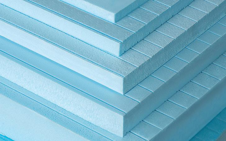 Теплоизоляционные плиты из пенополиуретана. Цвет светлый синий