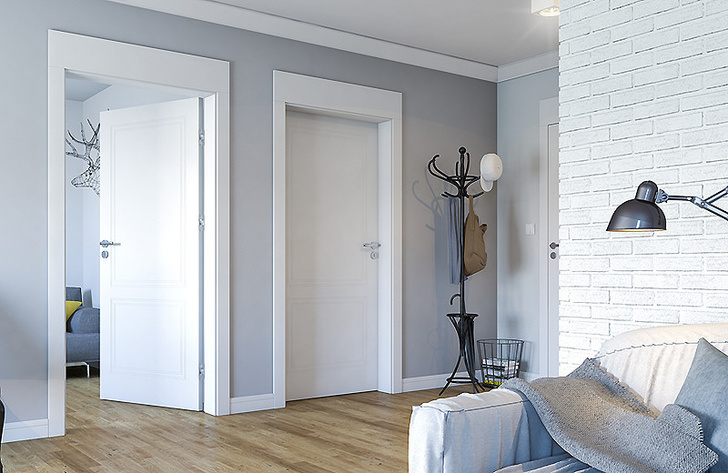. Цвета на изображении: двери – NCS S 0500-N, стены – NCS S 1005-R80B.