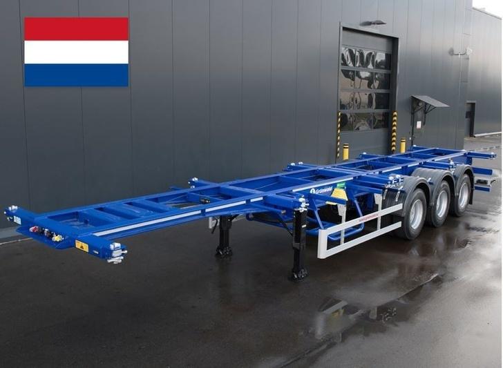 Усиленный полуприцеп-контейнеровоз Grunwald на двускатной ошиновке для Голландии