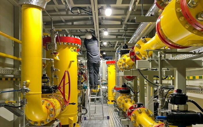 Технологический отсек пункта подготовки газа для пиковой ГТЭС на Лукомльской ГРЭС