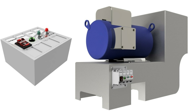 Слева: сборка модулей: выключатель, светодиодный индикатор, кнопки «ПУСК» и «СТОП». Справа: модули закреплены на корпусе малогабаритного производственного оборудования.