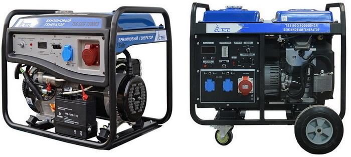 Бензогенераторы SGG 7500E3 (слева) и SGG 10000EH3 мощностью 7,5 кВт и 10 кВт