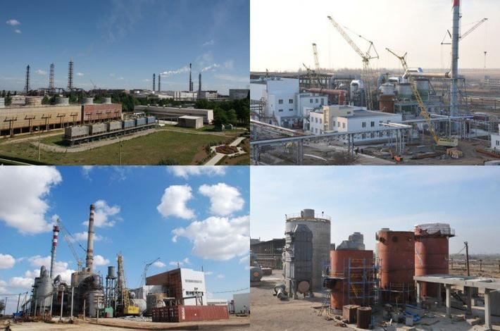 Панорама завода «Крымский титан» и строительство нового цеха серной кислоты, поставка и монтаж крупногабаритного оборудования - промежуточного абсорбера