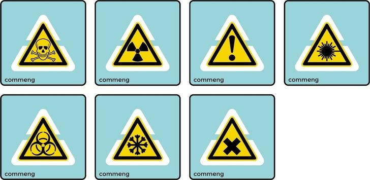 Примеры знаков. Верхний ряд, слева направо: Опасно. Ядовитые вещества. / Опасно. Радиоактивные вещества или ионизирующее излучение. / Внимание. Опасность (прочие опасности) / Нижний ряд, слева направо: Опасно. Лазерное излучение. / Осторожно. Биологическая опасность (инфекционные вещества) / Осторожно. Холод. / Осторожно. Вредные для здоровья, аллергические (раздражающие) вещества.