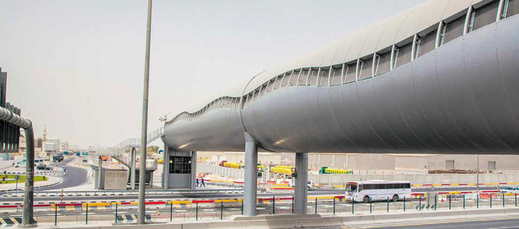 «ТРУБА» Доха, Катар Пешеходный мост длиной 84 метра, построенный немецкой компанией PML к чемпионату мира по футболу 2022 года. Представляет собой полностью закрытую конструкцию из алюминия цилиндрической формы диаметром 7 метров. Внутри мост оснащен системами вентиляции, кондиционирования и даже точками доступа Wi-Fi.