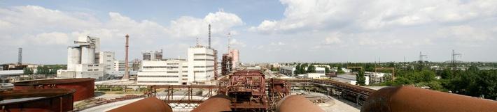 Панорама на крымский содовый завод с системы чанов