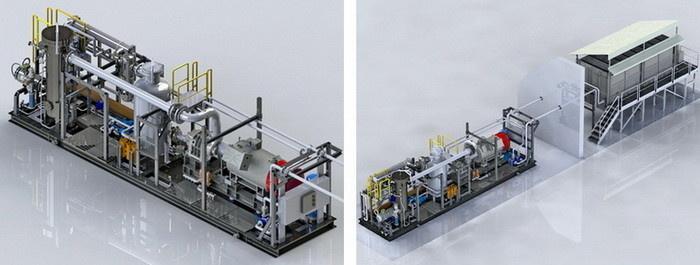 Макет компоновки КУ с входным фильтром-скруббером (установки функционируют в составе ГТЭС Южно-Нюрымского месторождения)
