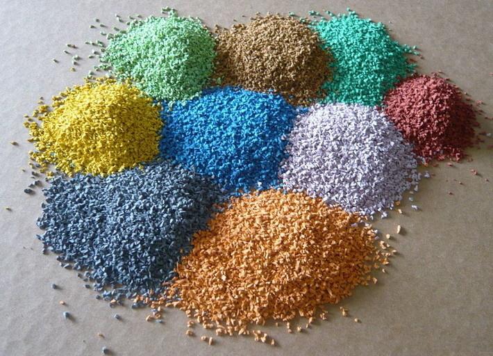 Резиновая крошка разных цветов