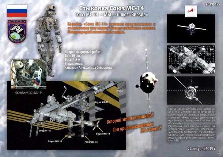 Корабль «Союз МС-14» с роботом Федором успешно пристыковался к МКС