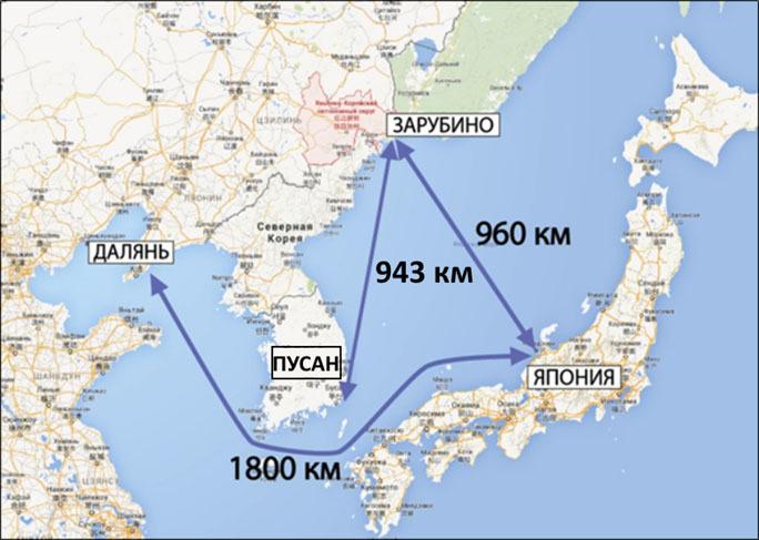 Расстояния до ближайших портов других стран