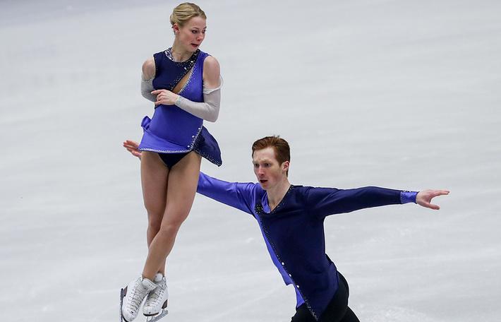Евгения Тарасова и Владимир Морозов во время произвольной программы