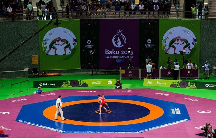 На соревнованиях по греко-римской борьбе на I Европейских играх - 2015