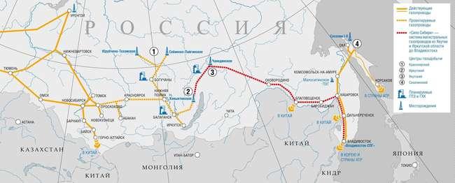 Проектируемые маршруты доставки газа из России в Китай